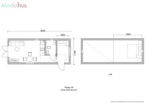 Filippa 30m² smal med sovrum