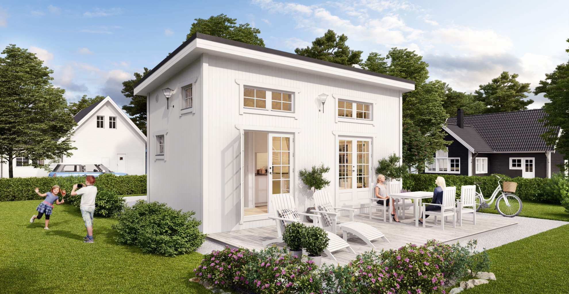 vit fasad på camilla Attefallshus 25 kvadrat utemiljö