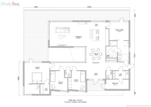 Villa Bella Casa 179kvm Planlösning