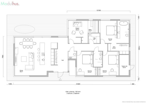 Villa Lyckorus 180 kvm Planlösning