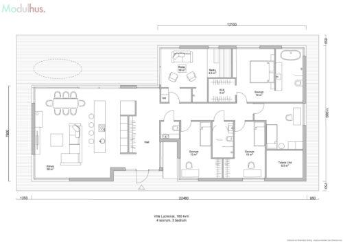 Villa Lyckorus 180kvm Planlösning 2