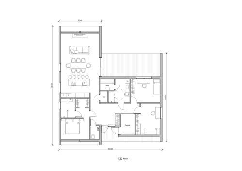Villa Solsaga 120kvm Planlösning
