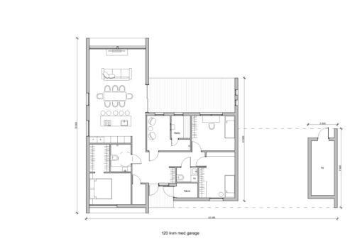 Villa Solsaga 120kvm Planlösning med garage