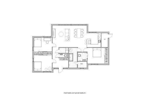 Villa Stinehill 120kvm Planlösning med bastu och privat badrum