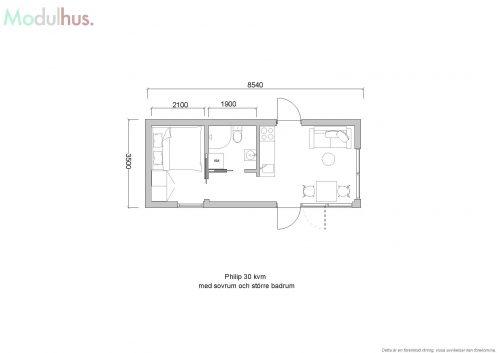 PHILIP 30 med sovrum och stort badrum